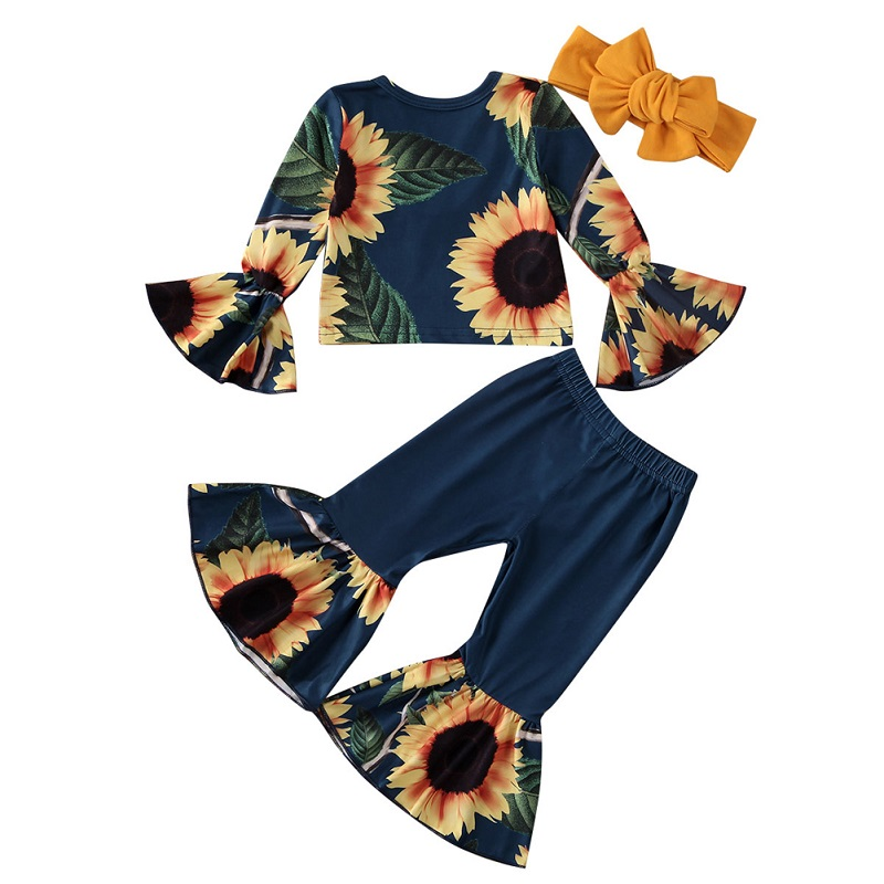 Lovely 2020 Spring Toddler Kids Baby Girl Sunflower Tops Flared Pants Backless Top+Leggings 2pcs Outfits Clothes