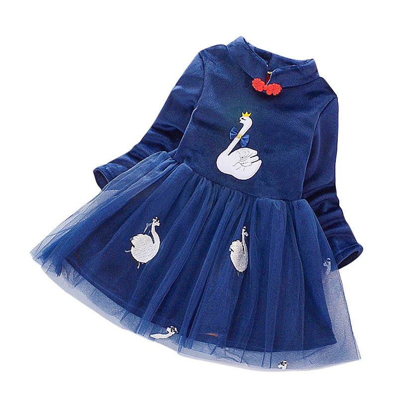 Toddler Baby Kids Girls Dress 2020 Spring Long Sleeve Swan Tulle Dresses Clothes
