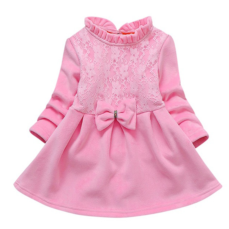 2020 Spring Autumn Toddler Girl Dress Cotton Long Sleeve Dress Bowknot Kids Dresses