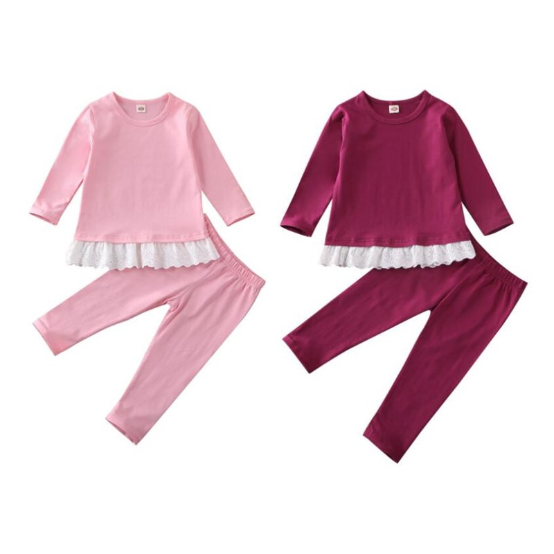 2020 Spring Autumn Girls Clothes Cotton Lace T-shirt Top Pants Trousers 2-7T Toddler Kids Baby Girl Outfit Sets
