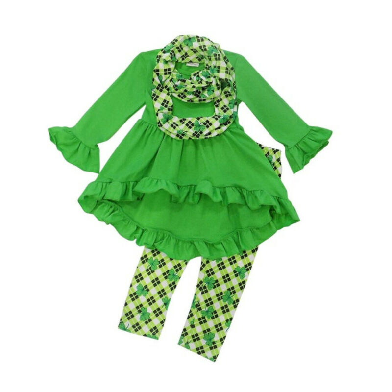 2020 Spring Kids Baby Girl Clothes Solid Long Sleeve Tops Dress+Clover Pants+Scarf Outfits 3PCS