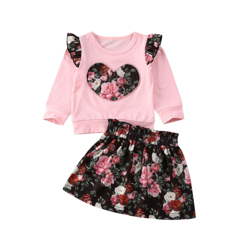 Toddler Kid Children Clothes Set 2020 Spring Girls Floral Clothes Long Sleeve Tops+Tutu Skirt Dress