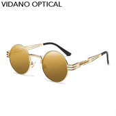Vidano Optical Round Metal Lunettes de soleil Steampunk Hommes Femmes Lunettes de mode Marque Designer Retro Vintage Sunglasses UV400