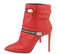 Red Woman Short Boot Zipper