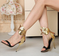 Women Gold Butterfly High Heels