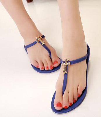 Flip-flops Metal Cross Decoration Women's Fashion