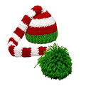 Christmas Baby Green Red Long Tail Pom-pom Hat