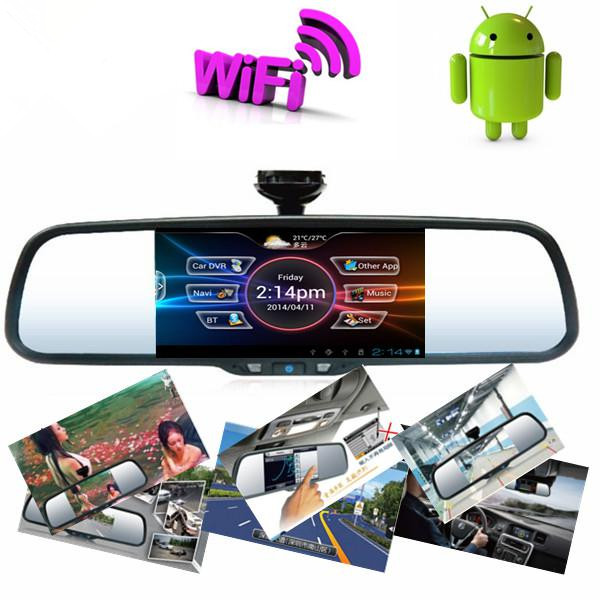 Android  car mirror  GPS DVR