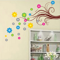 TC_2146 mixed order Colorful abstract flower wall sticker 50...