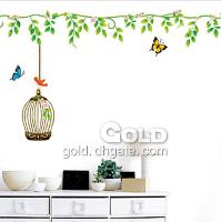 DM35_0009 Countryside birdcage wall sticker lx- 352