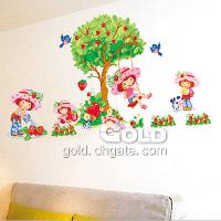 DM35_0012 strawberry tree wall sticker girl's room wall stic...