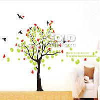 DM69_0032 Green and red leaf tree wall sticker