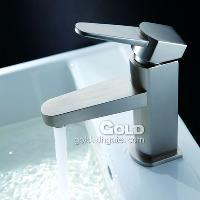 New Single Handle Bathroom Brass Faucet Brushed Nickel 100% ...