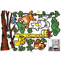 LD_648 Animal and tree cartoon wall sticker