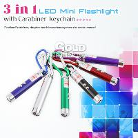High Quality 3 in 1 LED with Carabiner Mini Keychain Flashli...