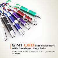 New 5 in 1 LED with Carabiner Mini Keychain Flashlights Butt...