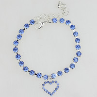 Cute Pet Necklace with Rhinestone Hanging Heart Shaped Pende...