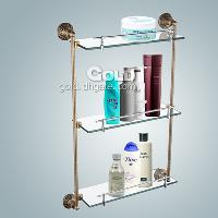 Wall Mounted Three- Layer Frosted Glass Shelf with Bronze Fin...