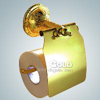 Toilet Paper Rack with Cover Bathroom Brass Accessories Gold...