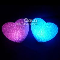 Crystal Colorful Led Night Light Heart- shaped Lamp 14cm