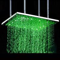 Stainless Steel Shower Head with Color Changing LED Light fo...