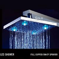 Temperature Sensing Square Rainfall Shower Head