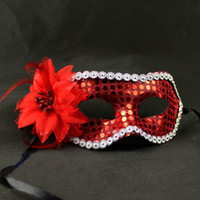 Even side mask covered by flower with sequins