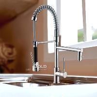 Professional Pull Out Brass Kitchen Faucet with Chrome Finis...