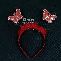 Multi- colors and feather Headband with Butterfly LX- 0417- 52