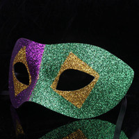 Venice whole face gold powder masquerade prom mask