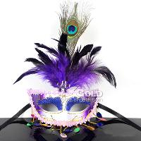 Feathers half- face Mask Peacock feathers