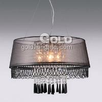 40W 4- Light Pendant Chandelier Black Light Cloth Shade and C...