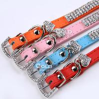 Fashionable Dog Collars in Genuine Leather With Rhinestone