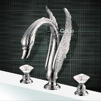 New Design Swan Series Brass Bathroom Faucet with Chromium F...