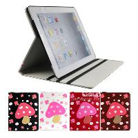 High Quality PU Leahter Case Cover for iPad 2 3 Mushroom Pat...