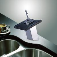 Fashion Waterfall Bathroom Sink Faucet with Glass Spout