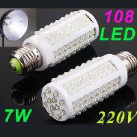 Ultra bright LED 7W E27 220V Cold White LED lamp with 108 le...