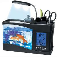 Mini USB LCD Desktop Lamp Light Fish Tank Aquarium LED Clock...