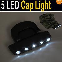 Black 5 LED Cap Hat Light Light Bulbs Light Camping Light