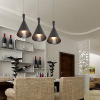 60W Pendant Light in Black Shade LED Pendant Chandelier Alum...