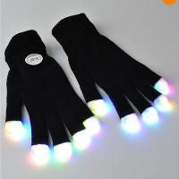 One pair of 7 Modes LED Gloves Rave light show fingers Color...