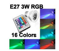 LED Spotlight 3W E27 GU10 MR16 16 Color Changing RGB LED Lig...