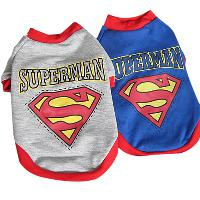 Dog Puppy Clothes Cotton Superman Apparel Spring T Shirt Blu...