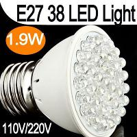 Ultra Bright 110 220V 1. 8W E27 38 LED White Light Bulb Lamp ...
