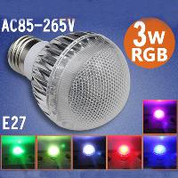 3W E27 16 Color Change RGB LED Light Bulb Lamp 85- 265V+ IR Re...