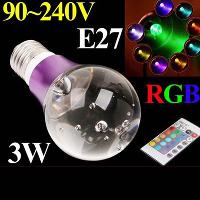 3W E27 RGB LED lamp 16 Colors LED Bulb Light Purple Crystal ...