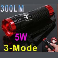 5W 300LM LED Torch Aluminum CREE LED Flashlight Torch 3 Mode...