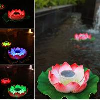 LED Solar Powered Water Floating Light Lotus Light- Color Cha...