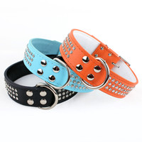 Genuine Leather Dog Collars with Artificial Drill