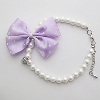 Pet Dog Cat Collars Pet Faux Pearl Necklace Bow Necklace Pet...